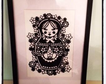 Papercut Russian doll