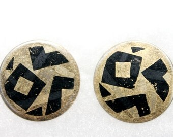 Vintage Avon Geometric Transfer Disk Earrings