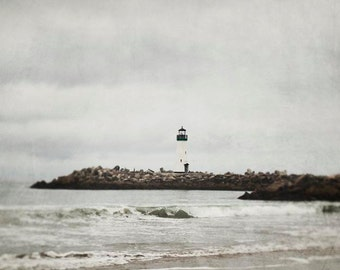 Lighthouse Photograph, Ocean, Nautical, Grey Stormy Clouds, Northern California, Waves, Sea, Nautical Wall Art, Santa Cruz