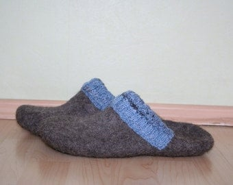Men slippers - Men house shoes - felted wool clogs - felted wool slippers - Father's day gift - Brown - Grey - Black