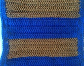 Harry Potter Scarf Ravenclaw House Handcrafted Blue and Bronze Crochet Scarf
