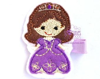Sofia Princess Set Felt embroidery hair clip / baby girl hair clip / girl hair clip / barrette...