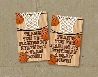 Basketball Birthday Party Thank You Favor Tags - Printable DIY - INSTANT DOWNLOAD