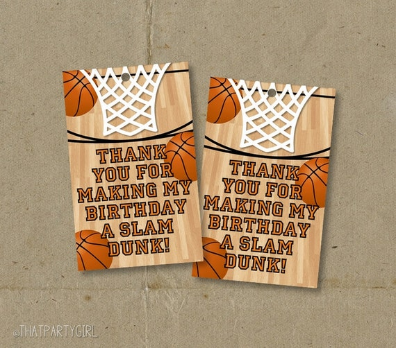 Basketball birthday party thank you favor tags printable diy for Basketball craft party ideas