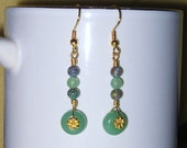 Beautiful Aventurine & Moss Agate Pendant Style Earrings