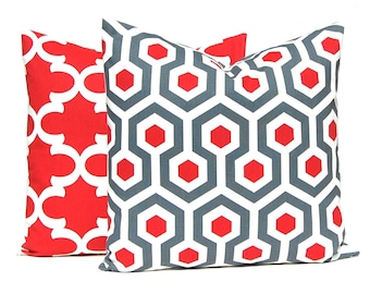Red Pillow Covers, Red Gray, Red Throw Pillow, Toss Pillow, Decorative Throw Pillow Cover Pair of Two Red Pillows Ruby Red