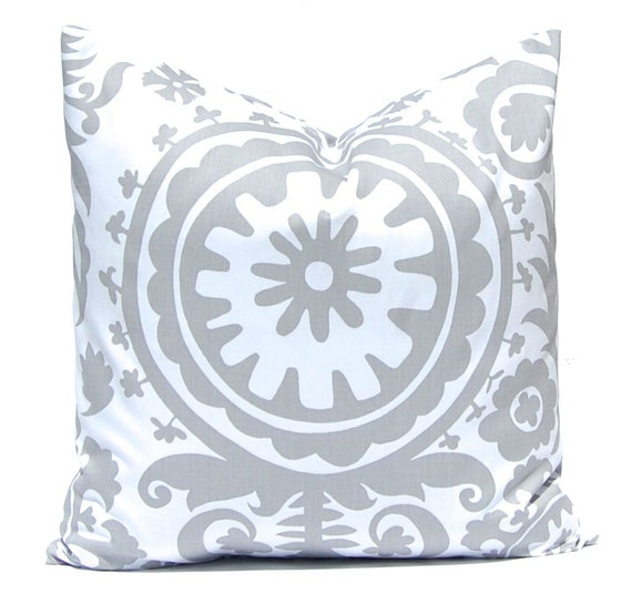 Throw Pillow Covers - Decorative Pillows - Gray Pillow Covers - Suzani - Sofa Pillows - 20 x 20 Inches - Pillow Covers in Storm Gray