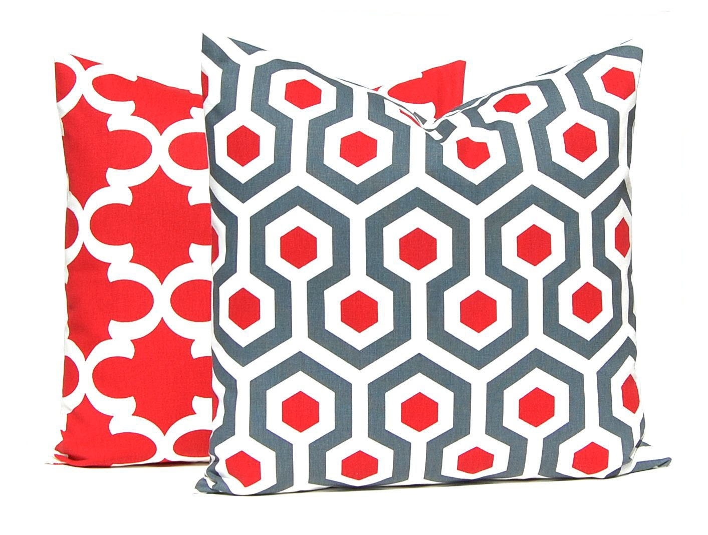 Red And White Throw Pillow Covers : Red Pillow Covers Red Gray Red Throw Pillow by CompanyTwentySix