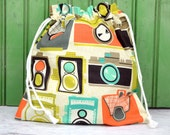 Reusable Drawstring Bag-for Toys, Gifts, Crafting or Storage in Cameras by Mod Guys for Michael Miller