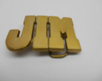 Vintage  JIM Brass Belt Buckle