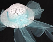 Tea Party Hat - Girls Sun Hat - White Easter Bonnet with Baby Blue Tulle - Blue Daisy - Style AP14