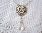 Clear Swarovski Crystal  Silver Filigree  Necklace SALE