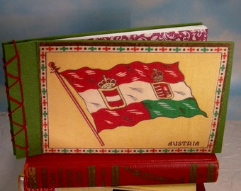 Austria Flag Stitched Album Journal with Vintage Cigar Flannel Cover