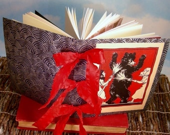 Snow-White and Rose-Red Writing Journal w/Red Bow Spine and Antique Story Illustration