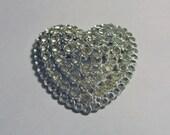 Large Vintage Silvertone Rhinestone Heart Brooch