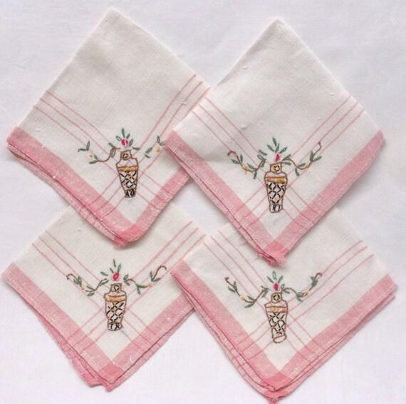 Linens Napkins Napkin Set of Four Vintage Hand Embroidered