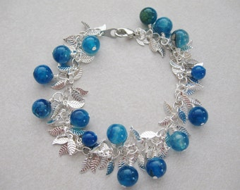 Blue Agate and Silver Leaf bangle Bracelet