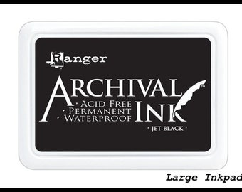 Jumbo JET BLACK Ink pad - Ranger Archival - Large 4x6 Dye Acid Free