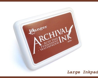 Jumbo SEPIA BROWN Inkpad - Ranger Archival - Large 4x6 Dye Acid Free