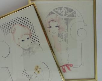 2 Vintage Art Prints Big Eyed Ladies by William Tara 1970s