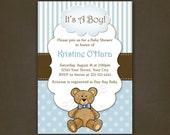 Boy Teddy Bear Baby Shower Invitation Printable File, Blue, Polka Dots, Teddy Bear, Stripes, Baby Boy, Blue & Brown