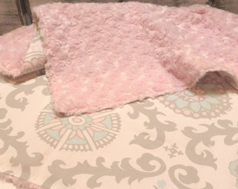 Baby Blanket, Minky Blanket, Pink and Gray Rosa Blanket, Pink Rosette Minky, Baby Girl Nursery