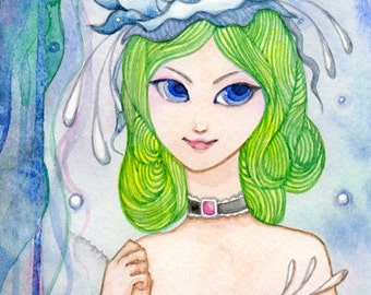 Original Watercolour painting Girl with White Hat