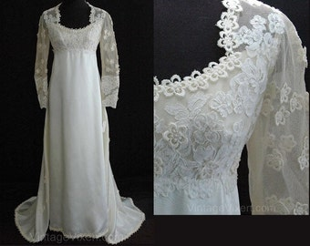 Size 6 Wedding Dress - Gorgeous 1960s Empire Satin Bridal Gown with Daisy-Dotted Sleeves & Train - Priscilla of Boston - Bust 33.5 - 23888