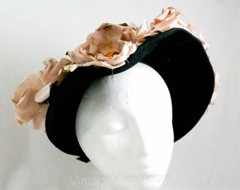 Romantic 1940s Black Felt Hat with Sequin Pink Wild Roses - Flowers - Elegant - Beautiful - Antique Style Glamour  41354