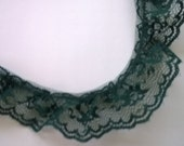 Dark Green Ruffled Floral Lace 5 Yards 1 1/4 Inches Wide L0523