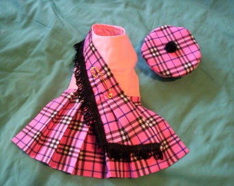 Finally!  Pink Dog Kilt Harness Dress and Hat  XXXS,XXS.XS,S,M,L