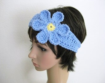 Crocheted Headband with Flower - Light Blue Crochet Head Band - Blue Flower Head Band - Crocheted Hippie Headband - Blue and Yellow