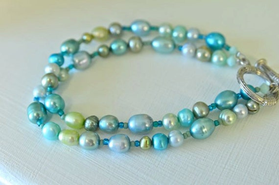 Double Strand Pearl Bracelet with Aqua, Blue, Turquoise, Lime, Aloe, Moss Green Freshwater Pearls and Toggle Clasp