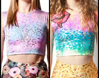 Reversible Crop Top in Cotton Candy & Rainbow Sherbert Tye Dye Web