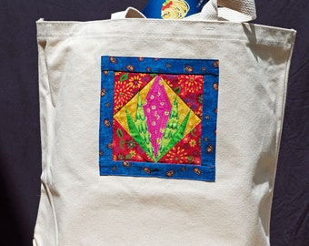 One of a kind....Eco-Friendly Canvas Tote.....Pink Bud