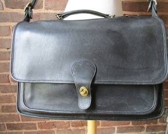 Vintage Black Leather Coach Beekman Briefcase Portofolio Attache