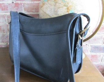 Vintage Large Black Leather Coach Purse Shoulder Bag
