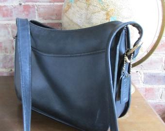 Vintage Large Black Leather Coach Purse Shoulder Bag