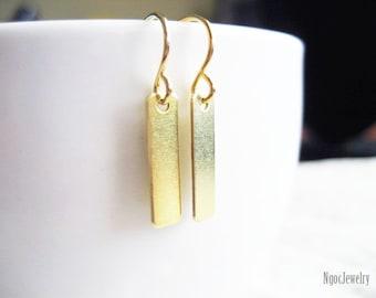 Little Bar Earrings, Small Brass Rectangle Charm Earrings, Brass Bar Dangle Earrings, Simple Gold Earrings, Gift Under 15 Dollars, B1