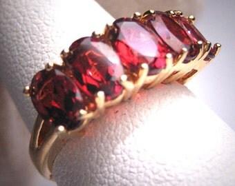 Vintage Estate Garnet Wedding Band Ring Art Deco Gems