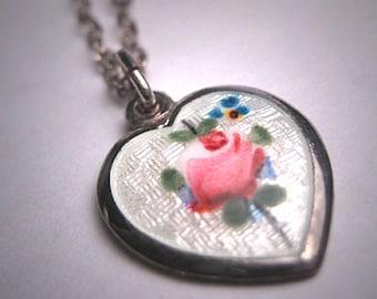 Antique Enamel Heart Pendant Necklace Victorian Art Deco 1920