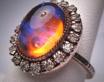 Antique Dragons Breath Opal Paste Ring Art Deco Silver