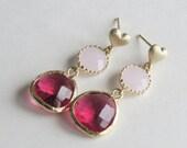 Red & Pink Heart Earrings- Heart stud earrings, Pink Red Heart Earrings, Red Heart Earrings, Pink Heart Earrings, Valentines Day Earrings