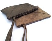zipper pouch- leather clutch- soft leather purse- wristlet- womens- large wallet - evening bag