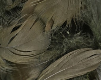 Goose Satinette PACKAGED Feathers - 7 grams - MOSS Green Brown - Hair Accessories, Home Decor, Flower Crowns