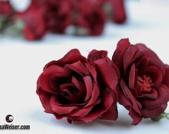 Silk Flowers - One Lot of 14 DEEP BURGUNDY Red Miniature Roses -  Artificial Flowers, Artificial Roses
