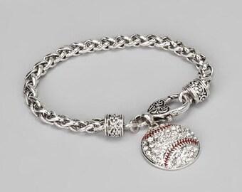 "7 1/2"" Lobster Claw Baseball Bracelet"