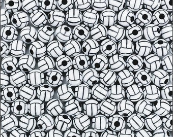 25 Acrylic Volleyball Beads