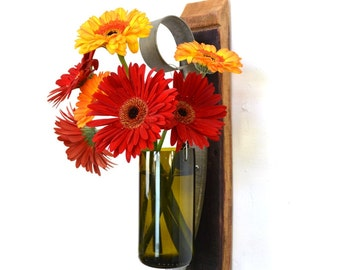 """VESSEL - """"Laelia"""" - Wall Hanging Wine Bottle Flower Holder - 100% recycled"""