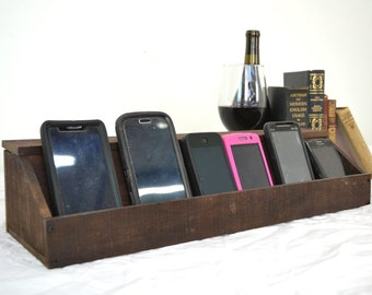 "ORGANIZER - ""Hawthorne"" - Wine Barrel Charging Station / Desk Organizer - 100% recycled"